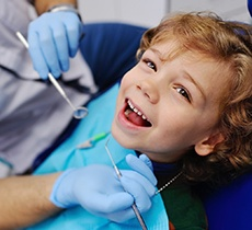 Closeup of child smiling during dentist appointment